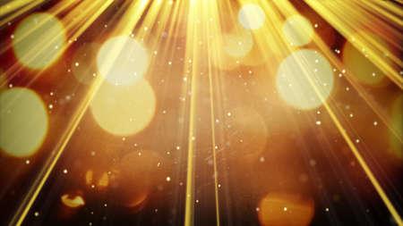 黄金の光線と粒子。コンピューター生成された抽象的な背景 写真素材