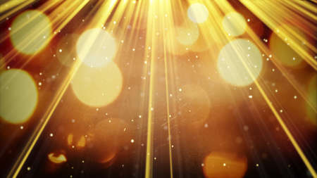 golden light rays and particles. computer generated abstract background