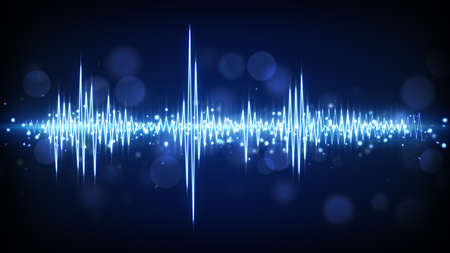 blue audio waveform. computer generated technology background Imagens - 42848355