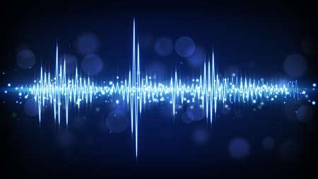 blue audio waveform. computer generated technology background