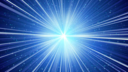 the light rays: blue shining light rays and stars. computer generated abstract background