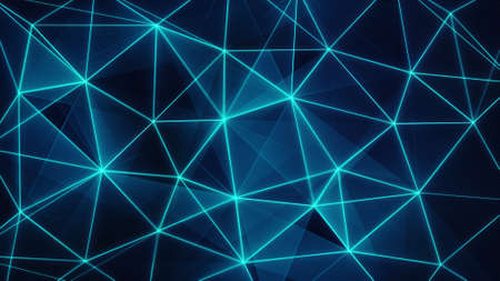 generated: futuristic glowing blue network mesh. computer generated abstract background Stock Photo