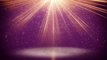 stars background: violet light beams and particles. computer generated abstract background Stock Photo
