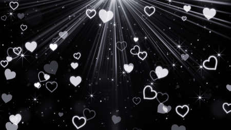 computer generated: hearts and stars flying in light rays. Computer generated abstract illustration