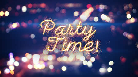 party time sparkler text and city bokeh lights Stock Photo