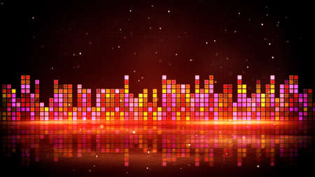 pulsating: red glowing equalizer and reflection. Computer generated party background