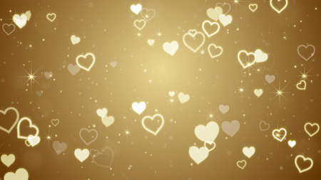 computer generated: gold hearts and stars. Computer generated abstract illustration Stock Photo