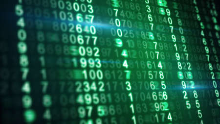 dof: green numbers on digital screen shallow DOF Stock Photo