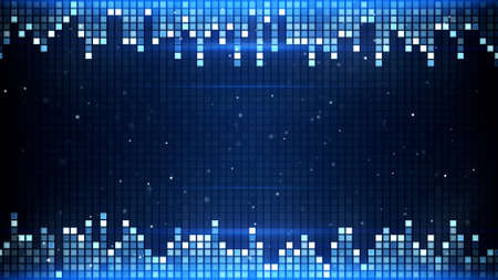 equalizer: glowing blue squares frame. computer generated abstract background
