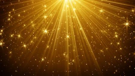 골드 빛 광선 및 별 추상적 인 배경