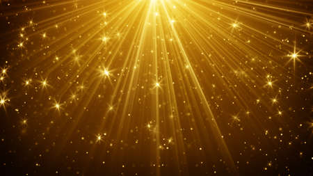 gold light rays and stars abstract background Imagens