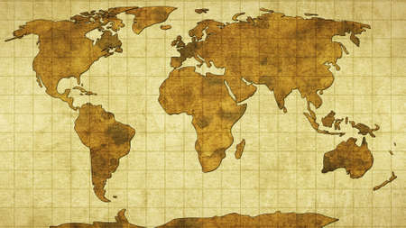 world map: world map on old paper Stock Photo