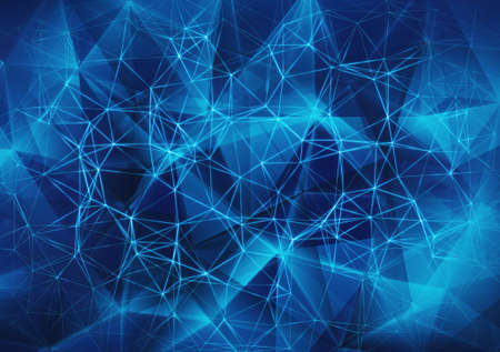 glowing blue network mesh background Stock Photo