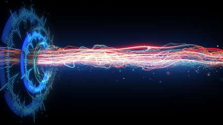 미래의 원형 및 수평 에너지 빔