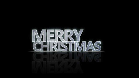 froze: merry christmas neon glow text with reflection Stock Photo