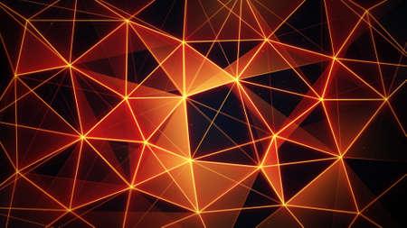 plexus: futuristic glowing orange network mesh. computer generated abstract background
