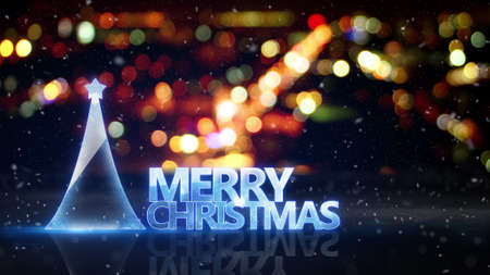 city lights: merry christmas text and city bokeh lights on background