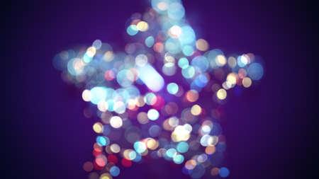 blinking: defocused star shape and bokeh lights Stock Photo