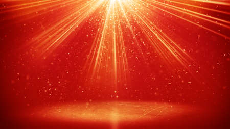 light beams: red light beams and particles. computer generated abstract background
