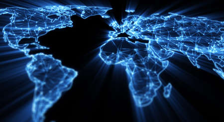 glowing blue world map shallow DOF Stock Photo