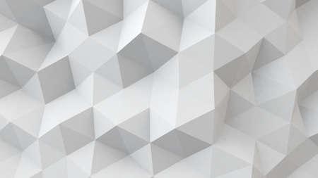 白い多角形の幾何学的な表面。コンピューター生成 3 D の抽象的な背景