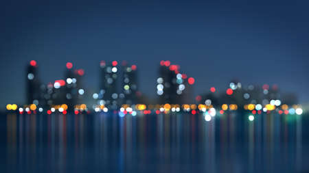 night view: waterfront of city at night. blurred abstract illustration Stock Photo