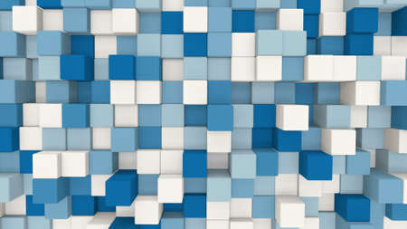 computer generated: blue and white 3D cubes. computer generated abstract geometric background