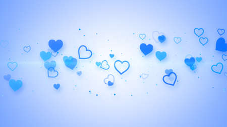 computer generated: blue elegant hearts. Computer generated abstract illustration