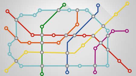the railway: subway transport scheme illustration