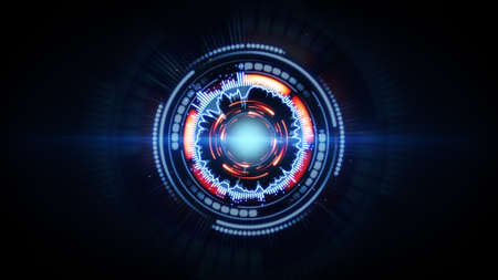 blue red glow futuristic circular shape