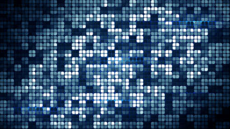 disco background: blue glowing squares. computer generated abstract geometrical background