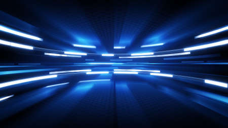shining blue glow. computer generated abstract technology background Stock Photo