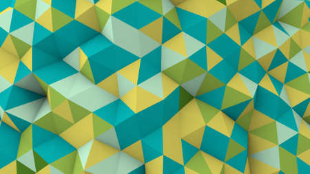 緑水色黄色多角形幾何学的表面。コンピューター生成 3 D の抽象的な背景 写真素材