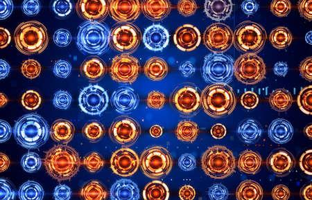 analyzer: arrow of circular spectrum analyzers Stock Photo