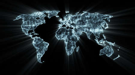 gloeiende wereldkaart begrip Stockfoto