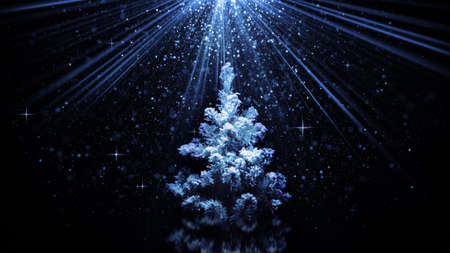 the light rays: christmas tree in blue light rays