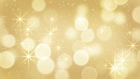 golden glow: golden bokeh light and stars. Computer generated abstract background Stock Photo
