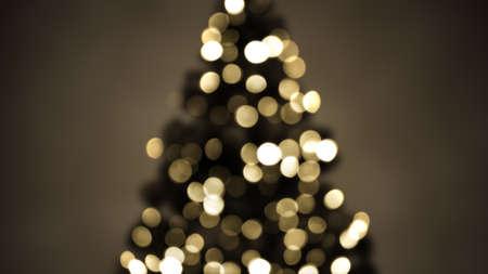 クリスマス ツリー ライト セピアをぼやけています。お祝いの抽象的な背景 写真素材