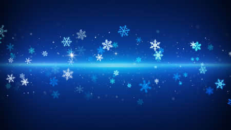 the computer generated: blue light stripe and snowflakes. computer generated christmas background