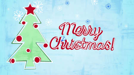 christamas: merry christmas card childs drawing style illustration