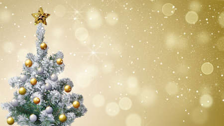 gold christmas background: christmas tree and gold glitter snowfall holiday background Stock Photo