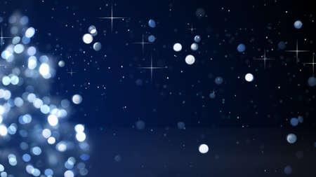 ブルーのクリスマス ツリーの装飾ライトがぼやけてください。