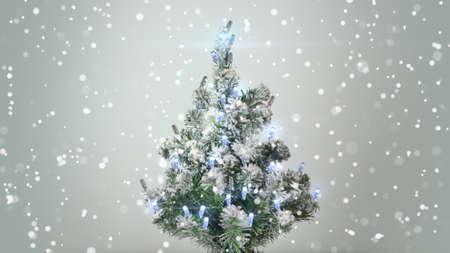 turbulent: christmas tree and turbulent snowfall holiday background
