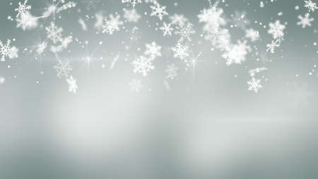 snowfall on gray. Computer generated christmas background