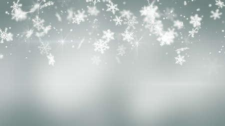 snowfall: snowfall on gray. Computer generated christmas background