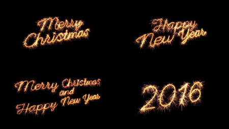 sparkler text merry christmas new year greeting set