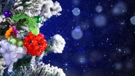 snowfall: close-up shot of christmas tree and magic snowfall