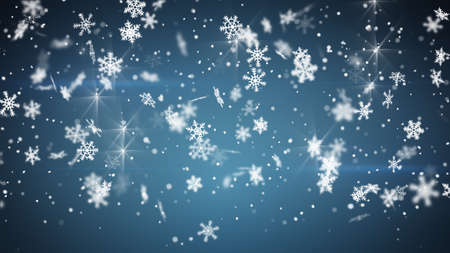 snowfall: snowfall on blue. Computer generated christmas background Stock Photo