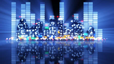 nighttime: blurred equalizer and night city. party illustration
