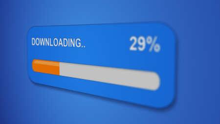 copying: download progress bar selective focus close-up